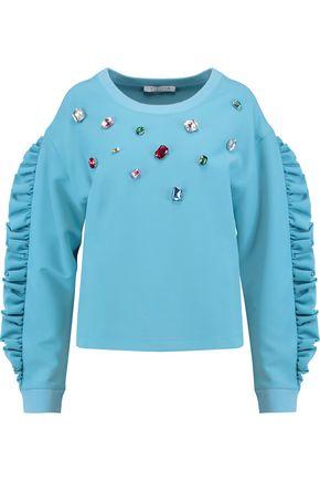 VIVETTA Ruffle-trimmed embellished bonded jersey sweatshirt