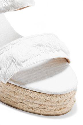 CASTAÑER Basha fringed denim espadrille wedge sandals