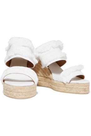 CASTAÑER Basha fringed denim espadrille wedge sandals