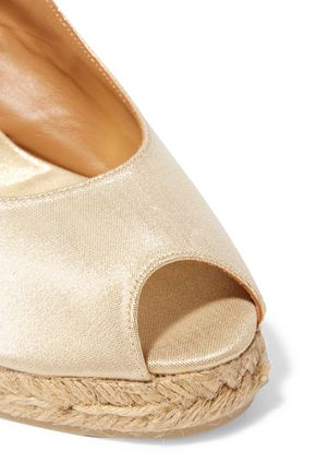 CASTAÑER Beli metallic canvas wedge sandals