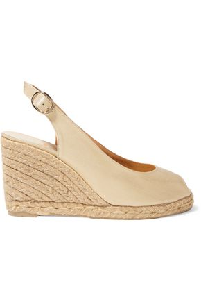 CASTAÑER Beli metallic canvas espadrille wedge sandals