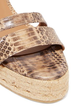CASTAÑER Boria python-effect leather espadrille wedge sandals