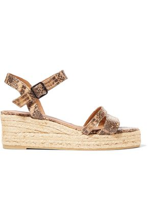 CASTAÑER Boria python-effect leather espadrille wedge sandals