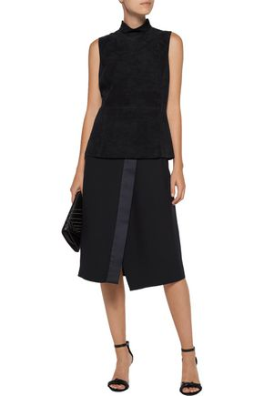 THEORY Eulia paneled suede and jersey top
