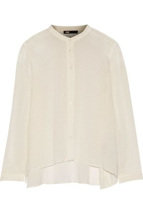 MAJE Open knit-trimmed embroidered voile top
