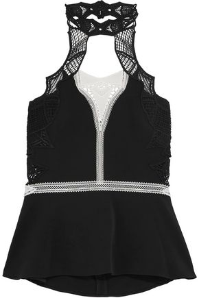JONATHAN SIMKHAI Cutout corded lace-trimmed cady top