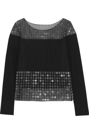 MAISON MARGIELA Sequin-embellished tulle-paneled crepe top