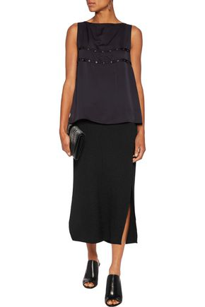 MAISON MARGIELA Detachable pleat-paneled chiffon and crepe de chine top