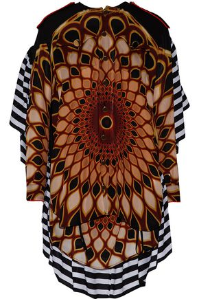 GIVENCHY Open-back printed ruffled silk-chiffon blouse