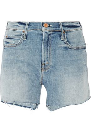MOTHER Rascal frayed denim shorts