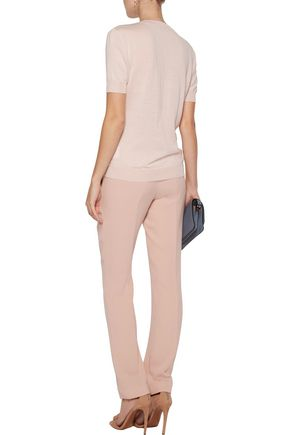 EMILIO PUCCI Paneled sequin-embellished printed silk crepe de chine and merino wool top