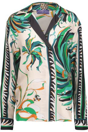 EMILIO PUCCI Printed silk-satin twill shirt