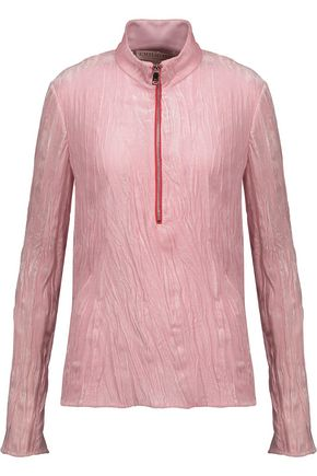 EMILIO PUCCI Silk blend-trimmed crushed-velvet top