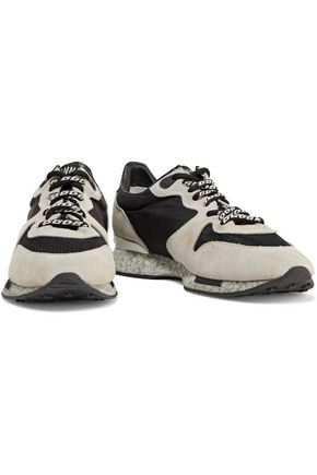 GOLDEN GOOSE DELUXE BRAND Mesh-trimmed paneled suede and canvas sneakers