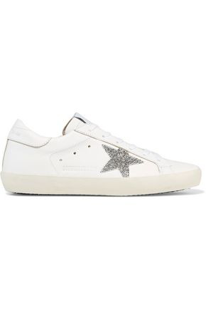 GOLDEN GOOSE DELUXE BRAND Super Star Swarovski crystal-embellished leather sneakers