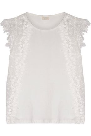 GIAMBATTISTA VALLI Guipure lace-paneled cotton-jersey top
