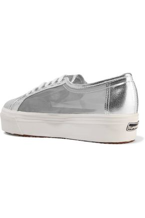 SUPERGA® Metallic mesh and cracked-leather platform sneakers