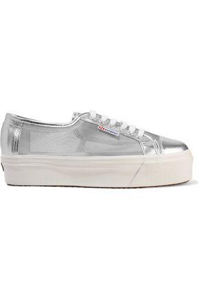 SUPERGA® Metallic mesh and cracked-leather platform sneakers