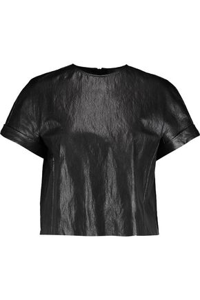 JUST CAVALLI Cropped faux leather top
