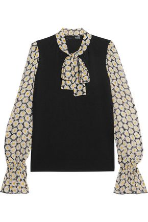 LOVE MOSCHINO Pussy-bow stretch-knit and floral-print chiffon blouse