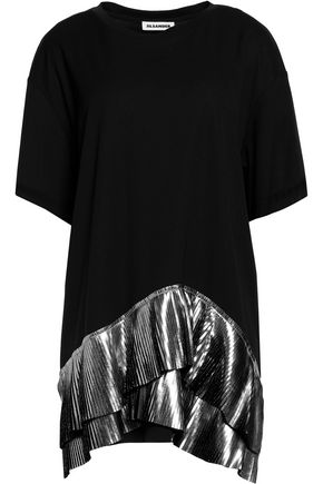 JIL SANDER Pleated metallic coated-paneled stretch-jersey top