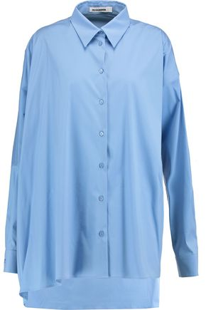 JIL SANDER Draped cotton-blend shirt