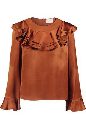 ROKSANDA Kayo ruffled silk-satin top