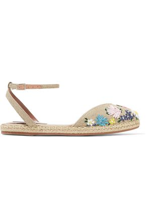 TABITHA SIMMONS Dotty Meadow floral-appliquéd canvas espadrilles