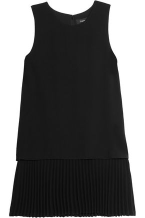 THEORY Anastaza layered plissé crepe top