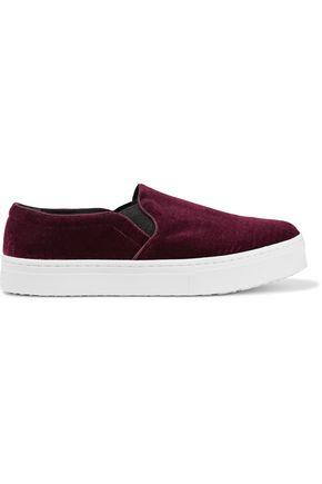 SAM EDELMAN Lacey velvet platform slip-on sneakers