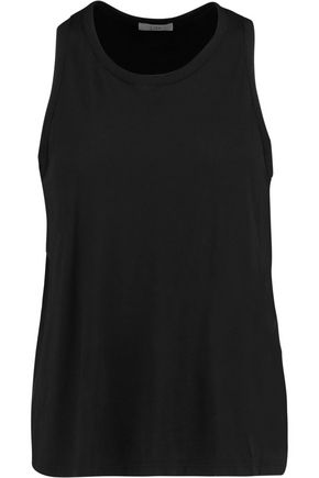 CLU Washed silk-paneled cotton and modal-blend tank