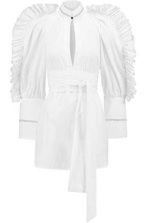 ELLERY Ruffle-trimmed cotton-poplin shirt