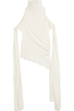 ELLERY The Lizzies cold-shoulder silk-blend top