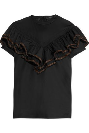 ELLERY Foxfire ruffled cotton top