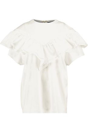 ELLERY Ruffle-trimmed cotton-jersey top