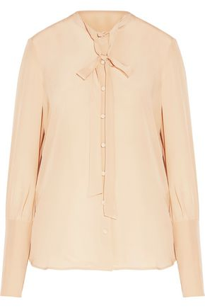 BELSTAFF Lucy pussy-bow washed-silk top