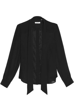 EQUIPMENT Leema pussy-bow lace-paneled silk blouse