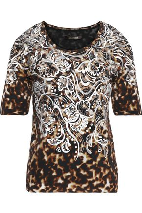 ROBERTO CAVALLI Embroidered printed silk-chiffon top