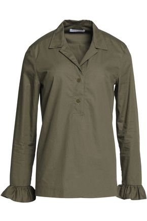 SANDRO Ruffle-trimmed cotton-poplin shirt