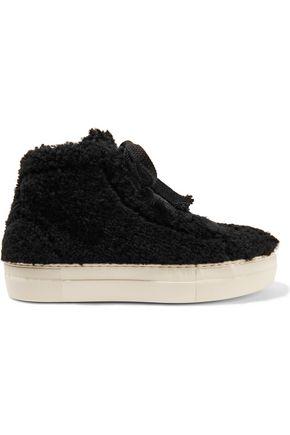 HELMUT LANG Shearling high-top platform sneakers