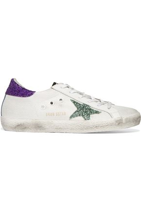GOLDEN GOOSE DELUXE BRAND Super Star distressed glitter-trimmed mesh and leather sneakers