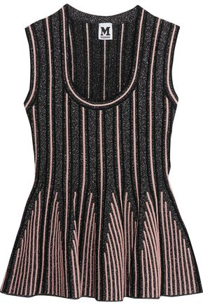 M MISSONI Glittered jacquard peplum top