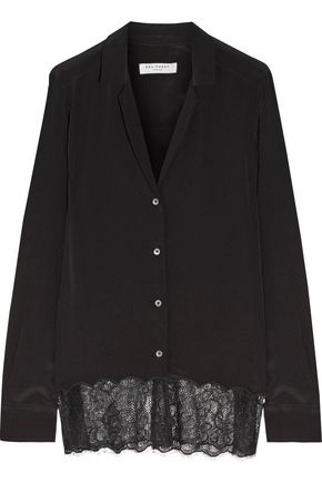 EQUIPMENT Adalyn corded lace-paneled silk crepe de chine blouse