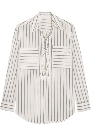 EQUIPMENT FEMME Lace-up striped cotton shirt