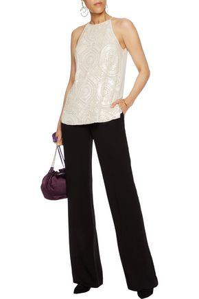 DIANE VON FURSTENBERG Bead-embellished silk-chiffon top
