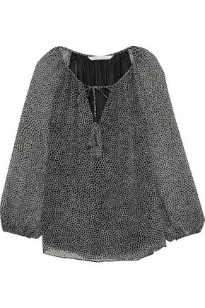 DIANE VON FURSTENBERG Saylor tasseled printed silk-chiffon blouse