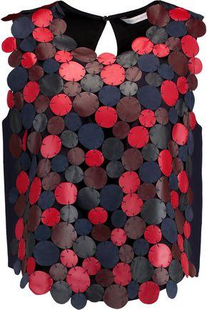 DIANE VON FURSTENBERG Scottie patchwork leather and satin top