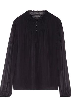 DIANE VON FURSTENBERG Smocked silk-chiffon blouse