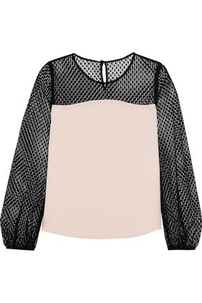 DIANE VON FURSTENBERG Darlina cotton-blend swiss-dot tulle and silk-satin top