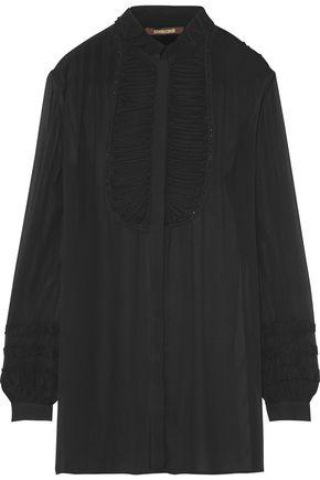 ROBERTO CAVALLI Ruffled silk-georgette blouse